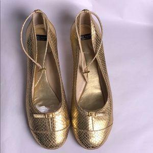 Kate spade gold snakeskin imprint kitten heels 10